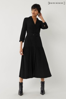 Warehouse Black Tiered Lapel Midi Shirt Dress