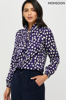 Monsoon Navy Samara Spot Blouse