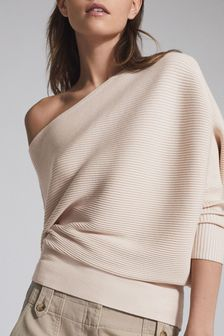 Reiss Pink Lorna Asymmetric Knitted Top