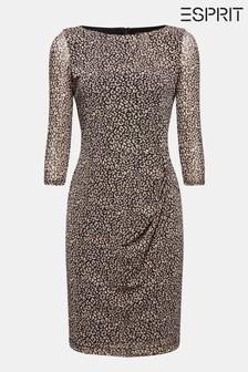 Esprit Black Printed Mesh Dress