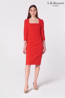 L.K.Bennett Red Ivor Crepe Dress With Wrap Neckline