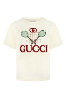 Kids Ivory Cotton Tennis Top