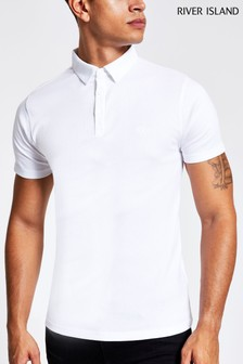 River Island White Rib Muscle Wasp Polo