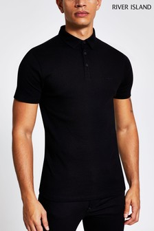 River Island Black Rib Muscle Wasp Polo