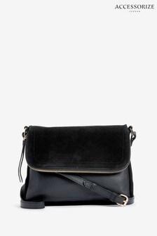 Accessorize Black Leather Sally Cross Body Bag