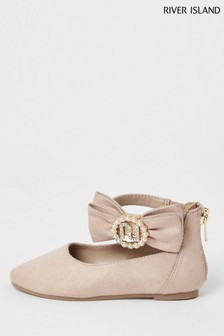 River Island Pink Light Bow Flat Ballerina Shoes