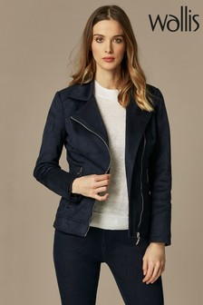 Wallis Blue Suedette Biker Jacket