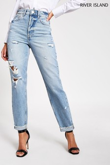 River Island Denim Medium Mom Ripped Pop Jeans
