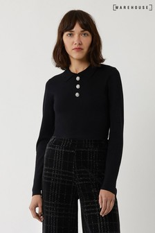 Warehouse Black Embellished Button Jumper