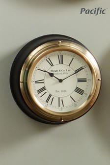 Antique Brass Matt Black Metal Round Wall Clock by Pacific Lifestyle