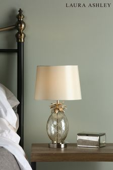 Laura Ashley Pineapple Cut Glass Table Lamp with Large Shade