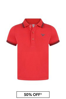 Baby Boys Red Cotton Polo Top