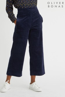 Oliver Bonas Cord Navy Wide Leg Trousers