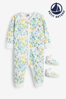 Petit Bateau Multicoloured Floral Babygrow And Booties Set