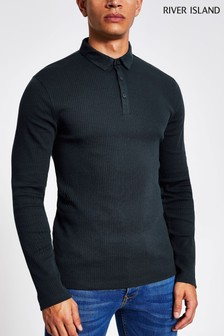 River Island Navy Rib Polo