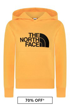 Boys Yellow Cotton Logo Hoody