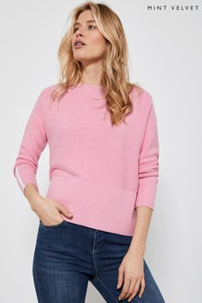 Mint Velvet Pink Cotton Stitch Button Jumper
