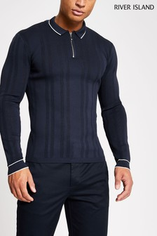 River Island Navy Zip Neck Polo