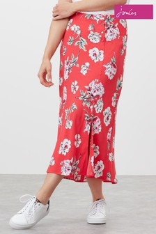 Joules Red Carlene Bias Cut Skirt With Splits