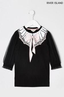 River Island Black Necklace Sleeve Tee Dress