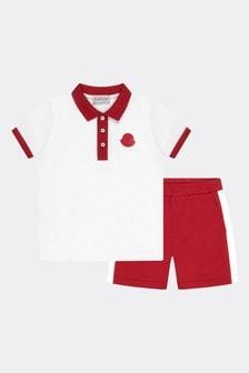 Moncler Enfant Cotton Polo Shirt And Shorts Set