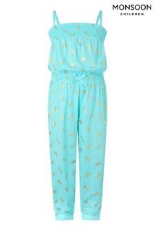 Monsoon Blue Penny Pineapple Foil Jumpsuit