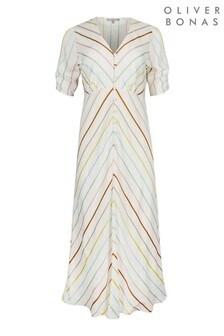 Oliver Bonas White Chevron Rainbow Stripe Midi Dress