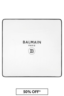 Balmain Baby Unisex White Cotton Blanket