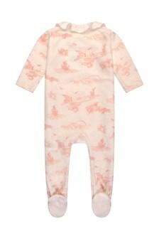 Girls Ivory & Pink Cotton Velour Babygrow