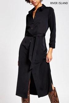 River Island Black Midi Shirt Dress