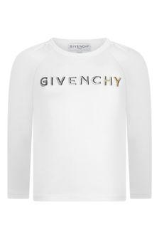 Girls White Cotton Long Sleeve T-Shirt