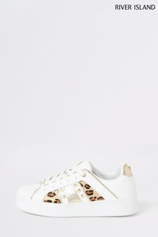 River Island White Pyramid Stud Trainers