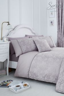 Jasmine Floral Jacquard Duvet Cover And Pillowcase Set by Serene