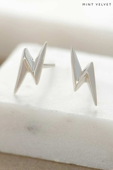 Mint Velvet Silver Tone Lightning Bolt Earrings