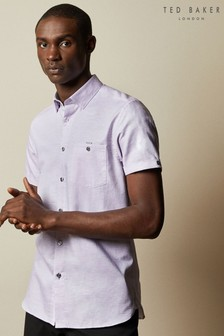Ted Baker Have Fun Short Sleeve Linen Blend Shirt