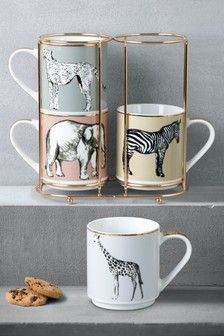 Set of 4 Safari Stacking Mugs