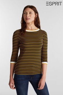 Esprit Womens Blue Long Sleeved T-Shirt With Stripes