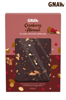 Gnaw Dark Chocolate, Cranberry And Almond Large Chocolate Slab 400g