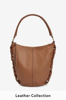 Leather Ruched Hobo Bag