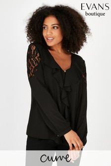 Evans Curve Black Lace Frill Top