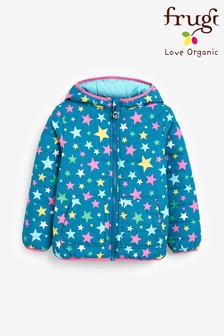 Frugi Blue Showerproof Recycled Reversible Padded Packaway Jacket