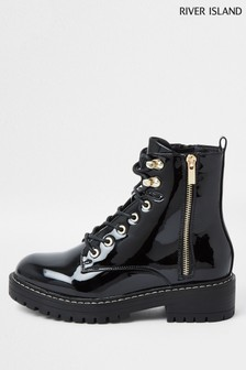 River Island Black Chunky Patent Wide Fit Boots