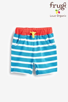 Frugi Blue GOTS Organic Jersey Breton Shorts With Jellyfish Pocket Embroidery