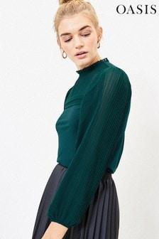 Oasis Green Pleat Sleeve Blouse