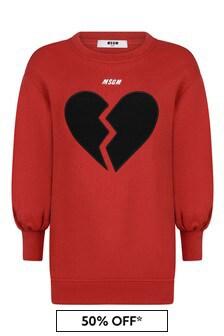 Girls Red Cotton Broken Heart Logo Dress