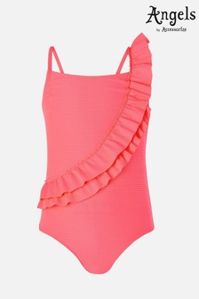 Angels By Accessorize Pink Neon Frill Swimsuit