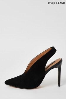 River Island Black V Front Court Shoes