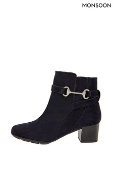 Monsoon Blue Callie Suede Comfort Ankle Boots