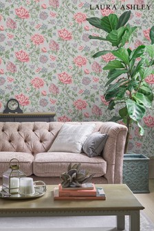 Laura Ashley Slate Grey Tapestry Floral Wallpaper