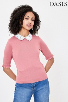Oasis Pink Bird Collar Knit Jumper